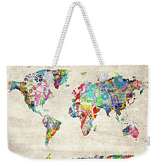 Weekender Tote Bag featuring the digital art World Map Music 12 by Bekim Art