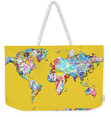 Weekender Tote Bag featuring the digital art World Map Music 13 by Bekim Art