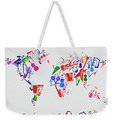 Weekender Tote Bag featuring the digital art World Map Music 3 by Bekim Art