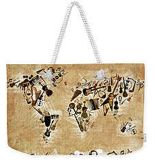 Weekender Tote Bag featuring the digital art World Map Music 4 by Bekim Art