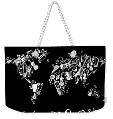 Weekender Tote Bag featuring the digital art World Map Music 5 by Bekim Art