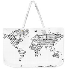 Weekender Tote Bag featuring the digital art World Map Music 8 by Bekim Art
