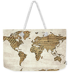 Weekender Tote Bag featuring the digital art World Map Music 9 by Bekim Art