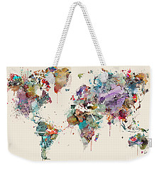 Weekender Tote Bag featuring the painting World Map Watercolors by Bri B
