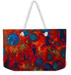 Weekender Tote Bag featuring the painting World Soccer Dreams 2 by Claire Bull