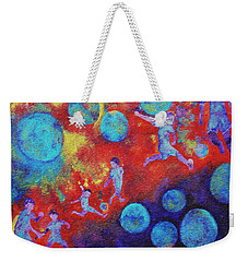 Weekender Tote Bag featuring the painting World Soccer Dreams by Claire Bull