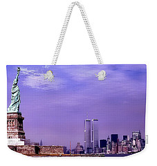 World Trade Center Twin Towers And The Statue Of Liberty  Weekender Tote Bag