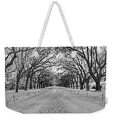 Weekender Tote Bag featuring the photograph Wormsloe Pathway by Jon Glaser