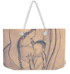 Wrapped Within The Angel Wings Of Momma Weekender Tote Bag