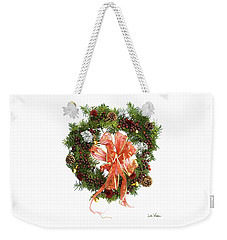 Weekender Tote Bag featuring the digital art Wreath With Bow by Lise Winne