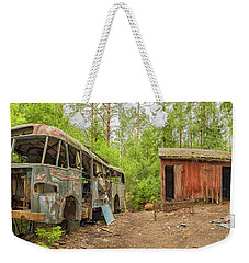 Wrecked Bus In Car Graveyard Weekender Tote Bag