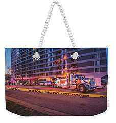 Wrecker And The Wreck At Dusk Weekender Tote Bag by Jeff at JSJ Photography