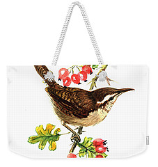 Wren And Rosehips Weekender Tote Bag by Nell Hill