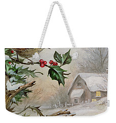 Wren In Hollybush By A Cottage Weekender Tote Bag by Carl Donner