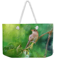 Wren In The Garden Bird Art Weekender Tote Bag by Jai Johnson