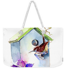 Wren With Birdhouse And Clematis Weekender Tote Bag