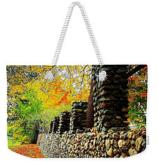 Wright Park Stone Wall In Fall Weekender Tote Bag