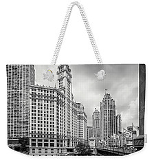 Weekender Tote Bag featuring the photograph Wrigley Building Chicago by Adam Romanowicz