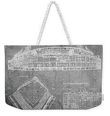 Wrigley Field Chicago Illinois Baseball Stadium Blueprints Gray Weekender Tote Bag