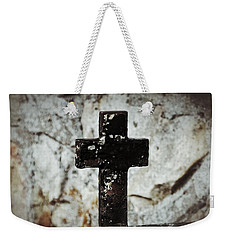 Wrought Iron Cross Against Stone Weekender Tote Bag