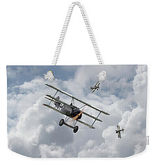 Weekender Tote Bag featuring the photograph Ww1 - Fokker Dr1 - Predator by Pat Speirs