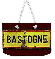 Wwii Bastogne Town Sign Weekender Tote Bag