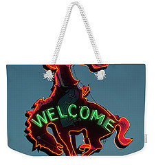 Wyoming Cowboy Vintage Neon Sign Weekender Tote Bag