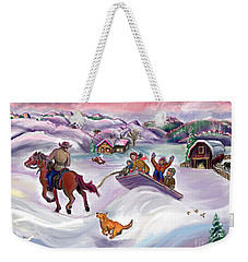 Wyoming Ranch Fun In The Snow Weekender Tote Bag
