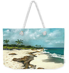 Weekender Tote Bag featuring the painting Xcaret - Mexico - Beach by Anastasiya Malakhova