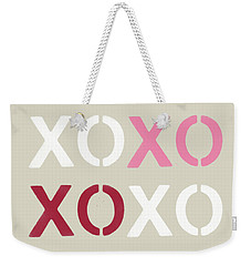 Weekender Tote Bag featuring the mixed media Xoxo- Art By Linda Woods by Linda Woods