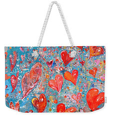 Weekender Tote Bag featuring the painting Xoxo by Evelina Popilian