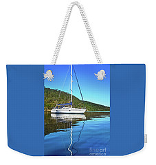 Weekender Tote Bag featuring the photograph Yacht Reflecting By Kaye Menner by Kaye Menner