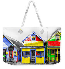 Weekender Tote Bag featuring the photograph Yacht Street Cape May In Technicolor by Bill Cannon