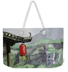 Weekender Tote Bag featuring the painting Yangtze Lantern by Kris Parins