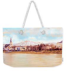 Weekender Tote Bag featuring the painting Ybbs An Der Donau Mit Oetscher by Menega Sabidussi