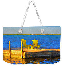 Yellow Adirondack Chairs On Dock In Florida Keys Weekender Tote Bag