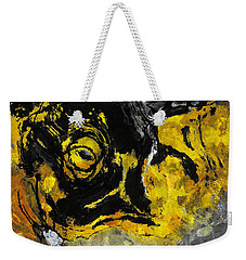 Weekender Tote Bag featuring the painting Yellow And Black Abstract Art by Ayse Deniz