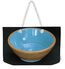 Yellow And Blue Ceramic Bowl Weekender Tote Bag by Suzanne Gaff