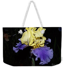 Yellow And Blue Iris Weekender Tote Bag by Kathy McClure
