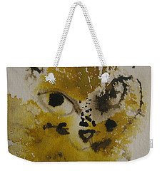 Weekender Tote Bag featuring the drawing Yellow And Brown Cat by AJ Brown