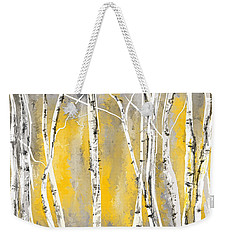 Yellow And Gray Birch Trees Weekender Tote Bag