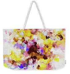 Weekender Tote Bag featuring the painting Yellow And Pink Abstract Painting by Ayse Deniz