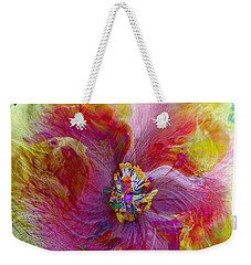 Yellow And Pink Hibiscus Abstract Weekender Tote Bag