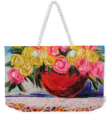 Yellow  And Pink Weekender Tote Bag