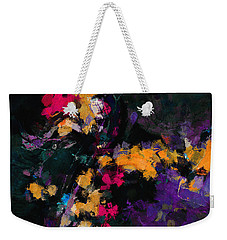 Weekender Tote Bag featuring the painting Yellow And Purple Abstract / Modern Painting by Ayse Deniz