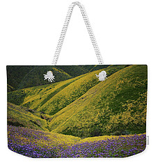 Yellow And Purple Wildlflowers Adourn The Temblor Range At Carrizo Plain National Monument Weekender Tote Bag by Jetson Nguyen
