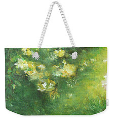 Weekender Tote Bag featuring the painting Yellow And White by Jane See
