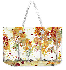 Weekender Tote Bag featuring the painting Yellow Aspens by Dawn Derman