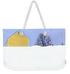 Yellow Barn In Snow Weekender Tote Bag