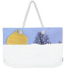 Yellow Barn In Snow Weekender Tote Bag